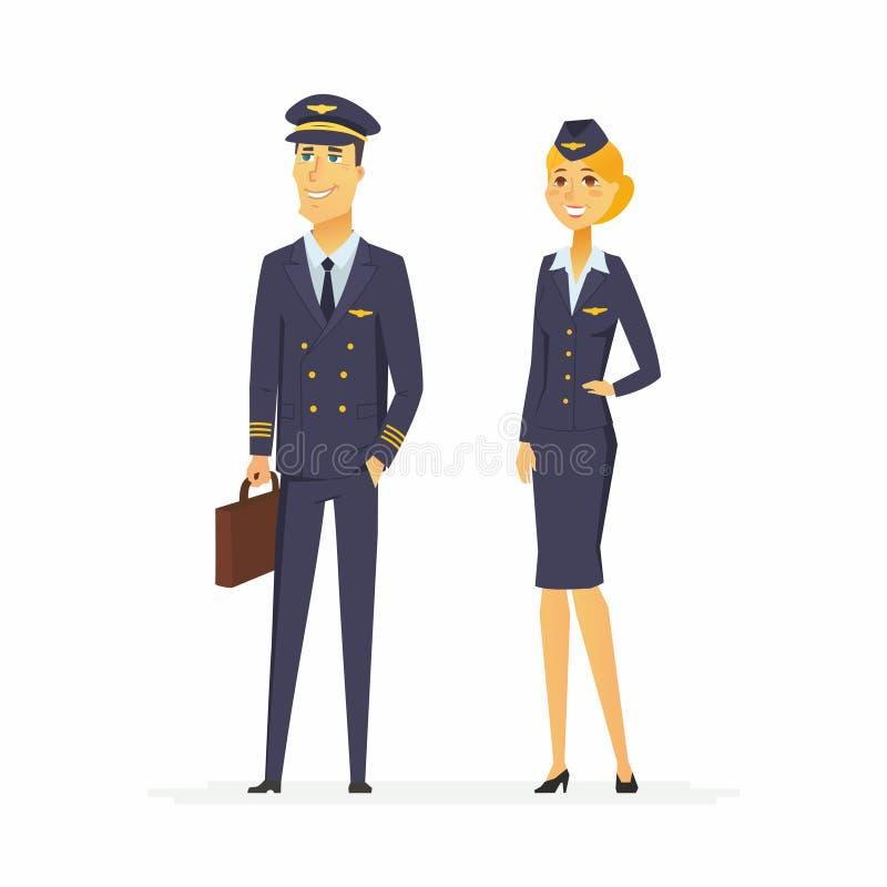 Piloto y asistente de vuelo - ejemplo de los caracteres de la gente de la historieta ilustración del vector