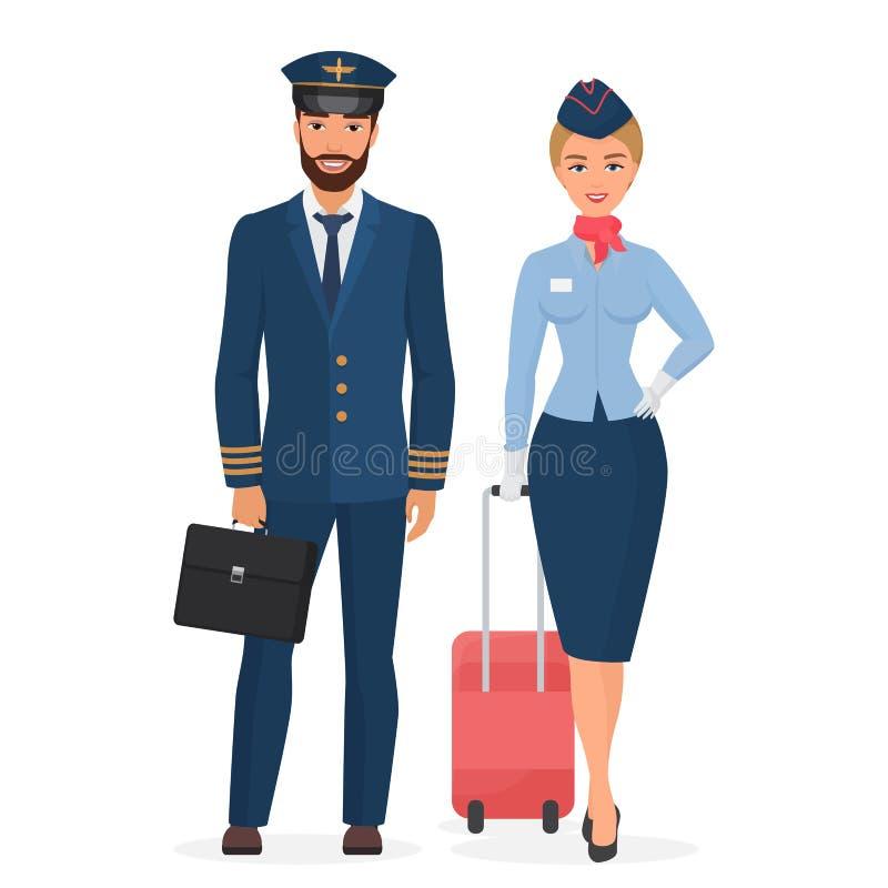 Piloto y azafata en el ejemplo plano aislado uniforme del vector stock de ilustración