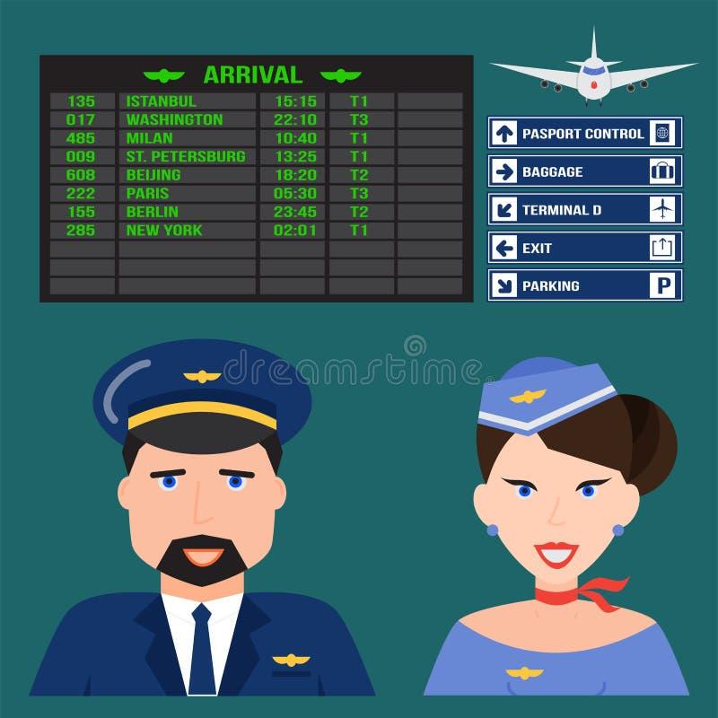 Piloto y azafata en vector acompañante de la persona profesional del aeropuerto del carácter del vuelo del avión de la gente unif stock de ilustración