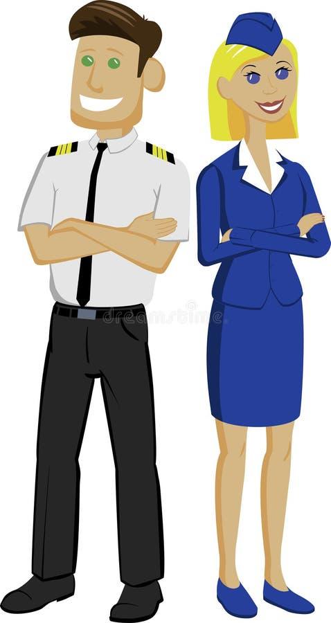 Piloto y azafata que se colocan con los brazos a través de nuevo a la parte posterior fotografía de archivo
