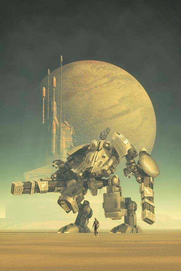 Piloto y ciudad gigantes del robot ilustración del vector