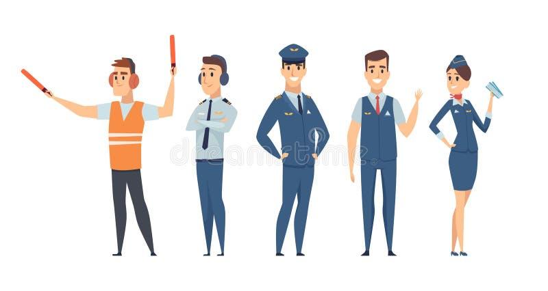 pilotos Caracteres del vector de la aviación civil del comando del aeroplano de la azafata de los pilotos del equipo de las perso libre illustration