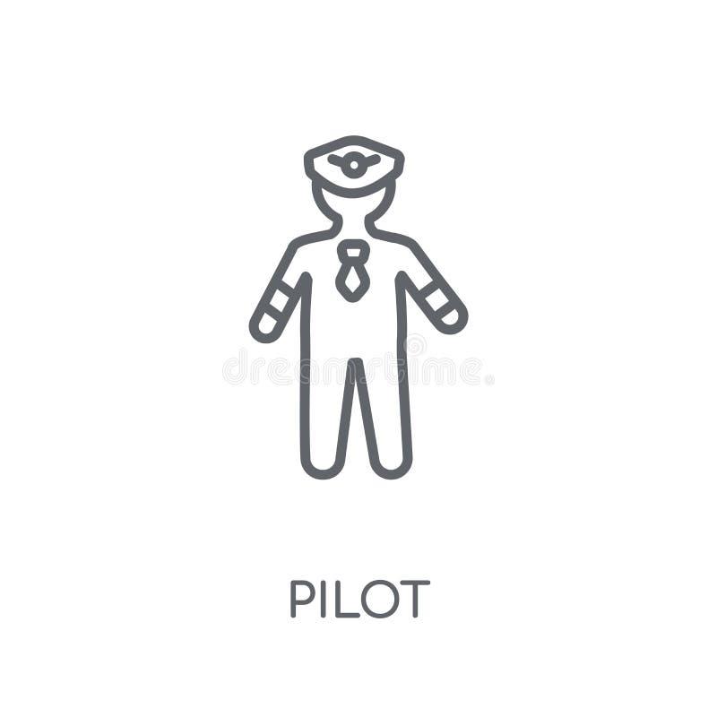 Pilotowa liniowa ikona Nowożytny konturu pilota logo pojęcie na białych półdupkach royalty ilustracja