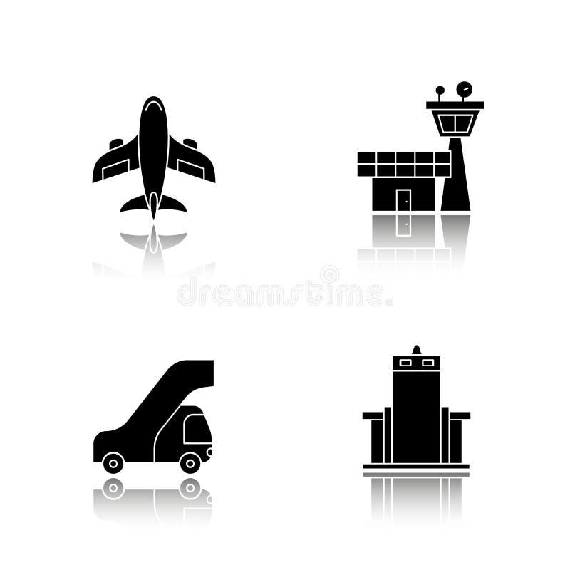 Pilotowe opadowe cienia czerni ikony ustawiać Samolot, lot wieża kontrolna, pasażer drabina, metalu przeszukiwacza brama odosobni ilustracji