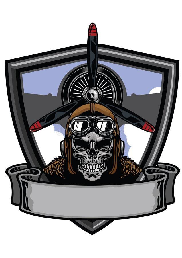 Pilotowy czaszki odznaki projekt royalty ilustracja