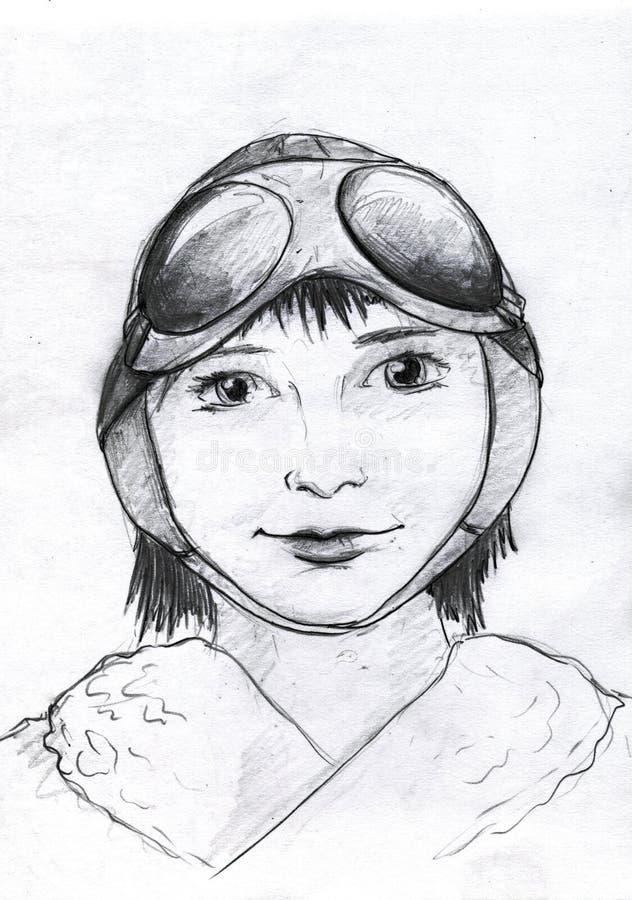 pilotowy dziewczyna portret royalty ilustracja