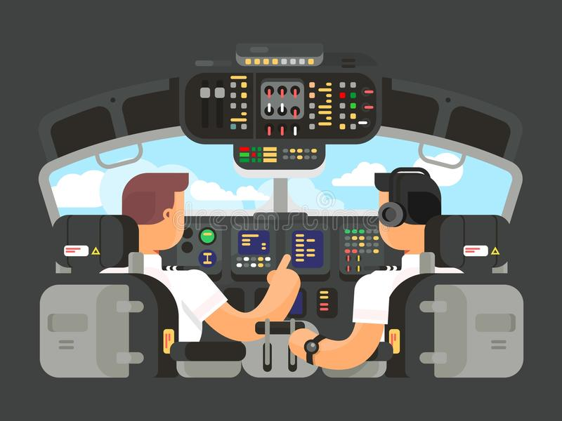 Pilots in cockpit flat design. Airplane captain, and command of plane. Vector illustration vector illustration