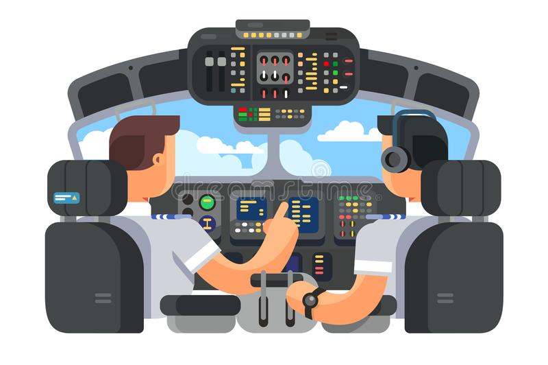 Pilots in cockpit plane flat design. Pilots in cockpit plane with control board flat design. Airplane captain and command of plane. Vector illustration stock illustration