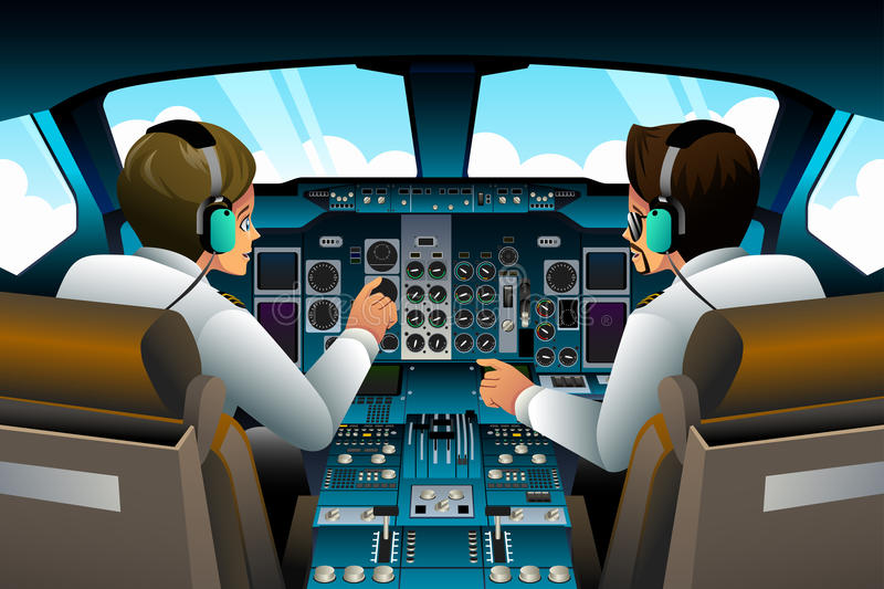 Pilots in Cockpit. A vector illustration of pilot and copilot inside the cockpit vector illustration
