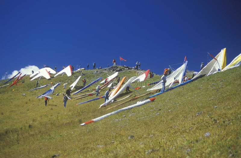 Pilots on slope during Hang Gliding Festival