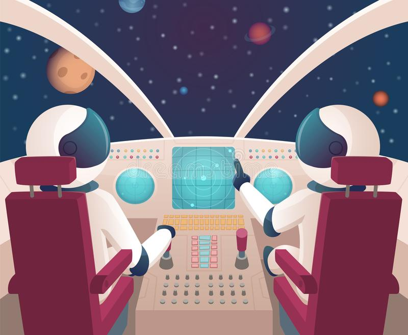 Pilots in spaceship. Shuttle cockpit with pilots in costumes vector cartoon space with planets stock illustration