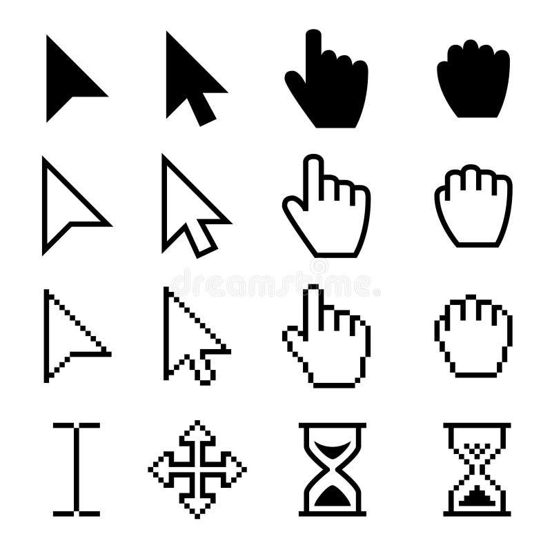 Pilrengöringsdukmarkörer, digitala pictograms för svart för handpekarevektor royaltyfri illustrationer