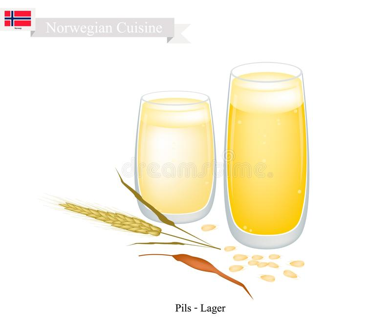 Pils et bière blonde allemande, un Dink populaire en Norvège illustration de vecteur