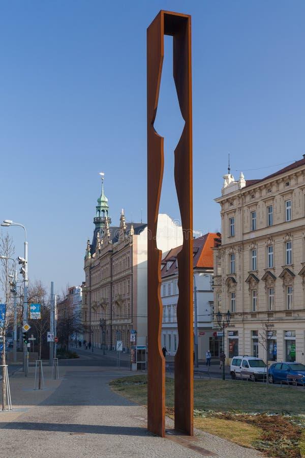Pilsen, República Checa - 02/21/2018: El monumento de G general S fotografía de archivo libre de regalías