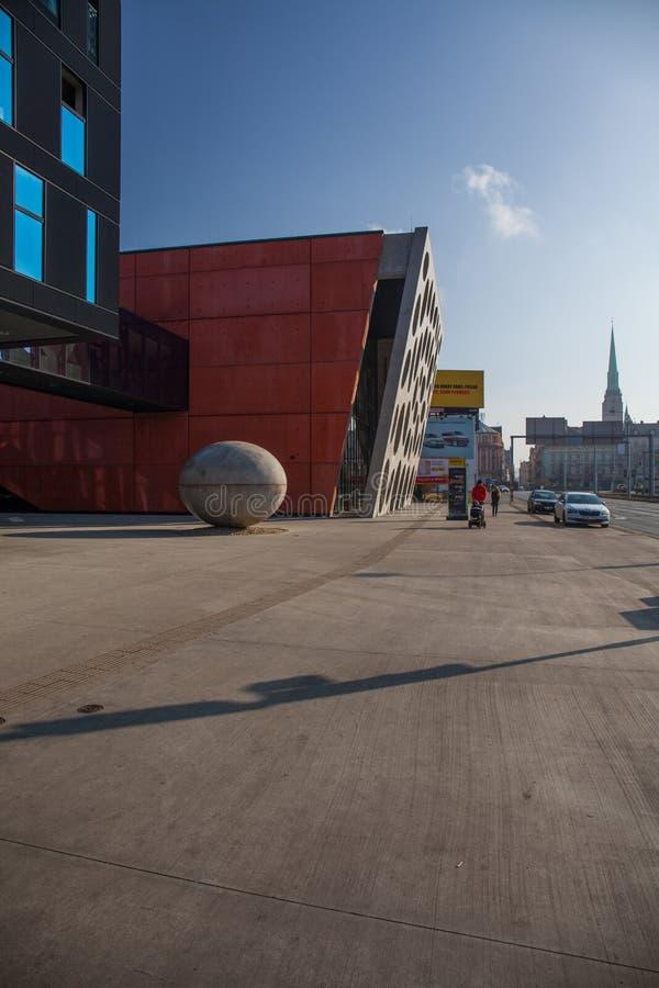 Pilsen Tjeckien - 02/21/2018: Den nya etappen, ny teater arkivbild