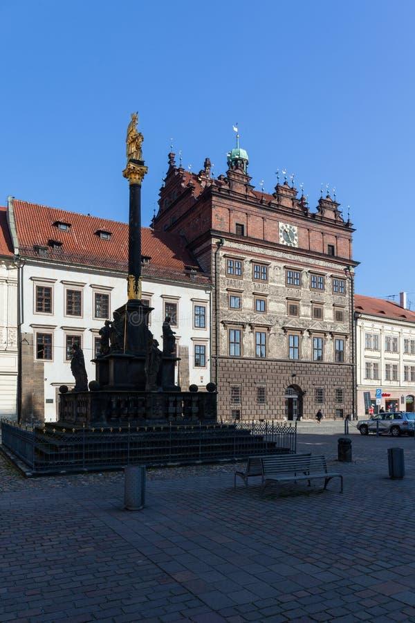 Pilsen, Tsjechische republiek - 02/21/2018: Het stadhuis op Republiek s royalty-vrije stock afbeelding