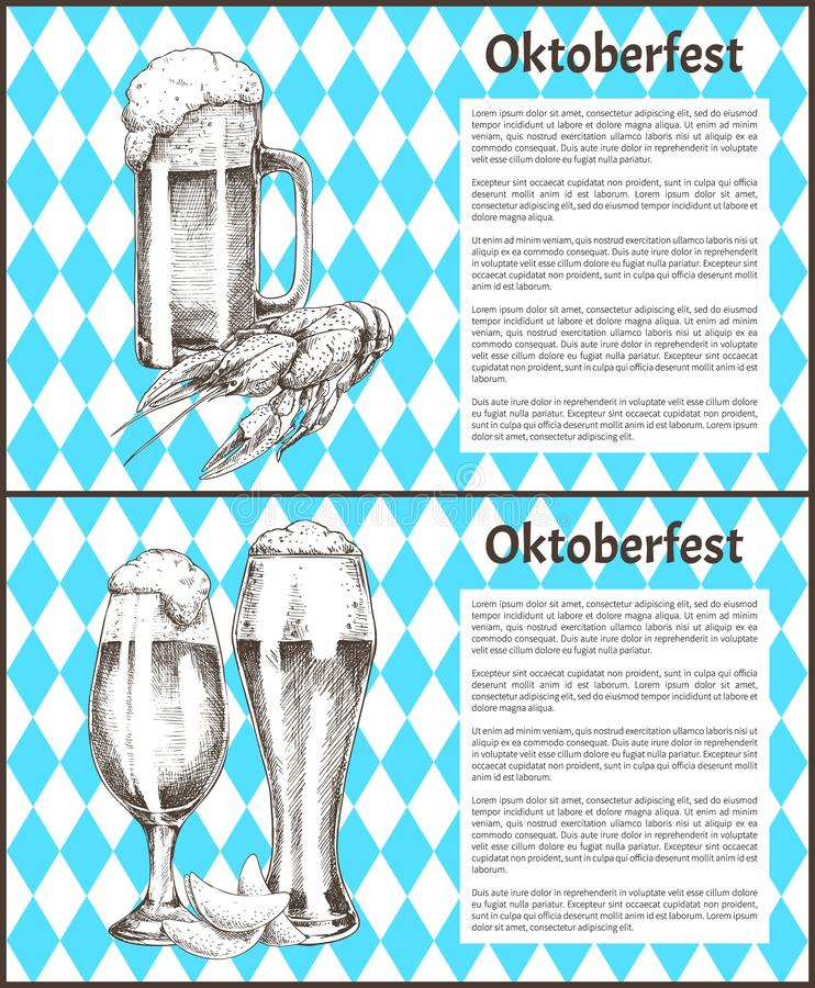 Pilsner Tulip Beer Glass y taza con el cartel del bocado ilustración del vector
