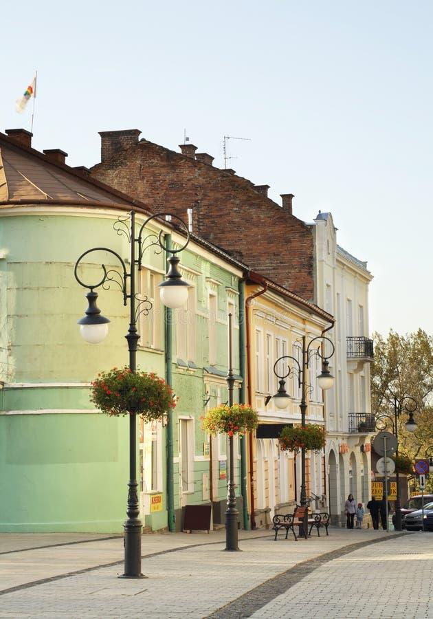 Pilsudski ulica w Krośnieńskim Polska zdjęcia stock