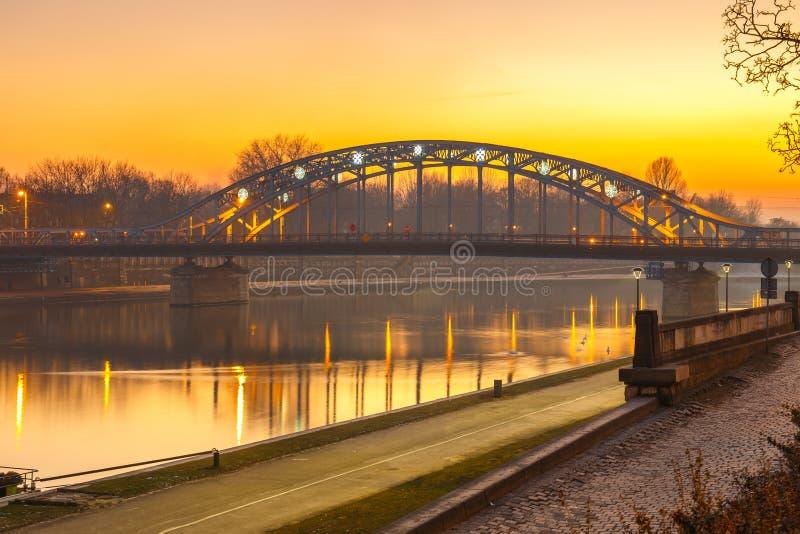 Pilsudzki bridge at sunset in Krakow. Poland stock image