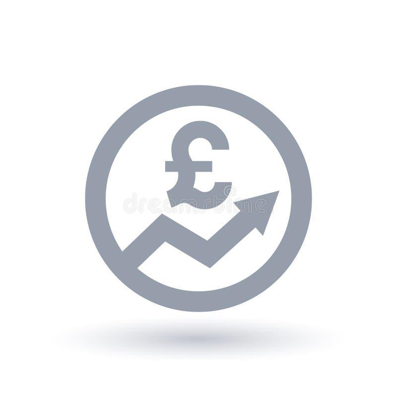 Pilsymbol för brittiskt pund - symbo för Storbritannien valutaframsteg royaltyfri illustrationer