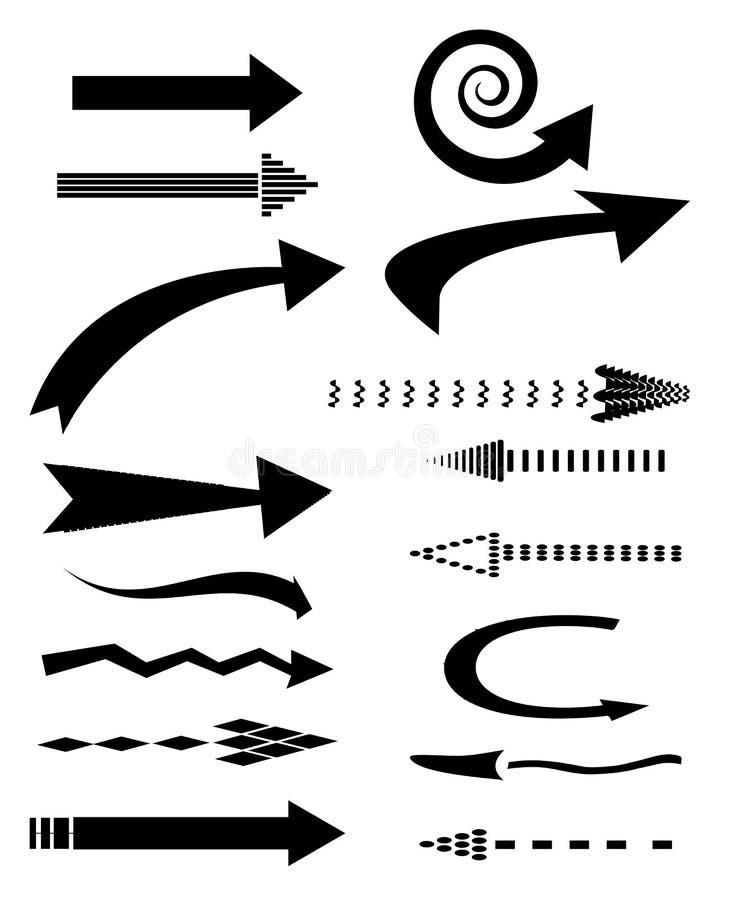 Pilsymboler vektor illustrationer