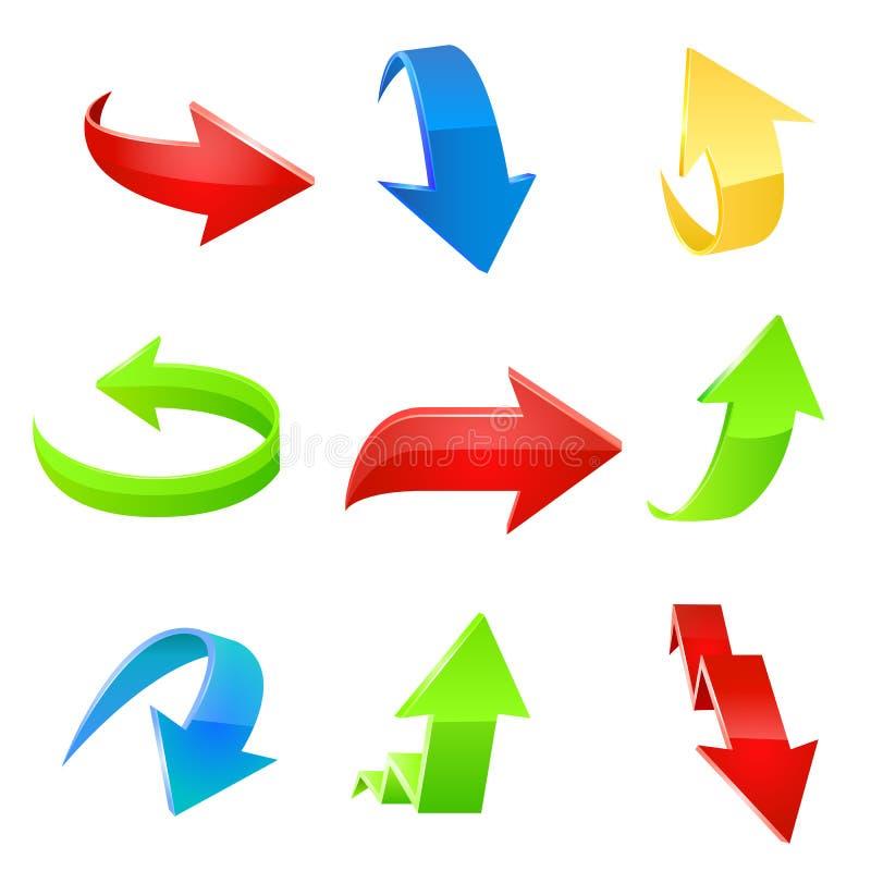 Pilsymbolsuppsättning. Vektor vektor illustrationer
