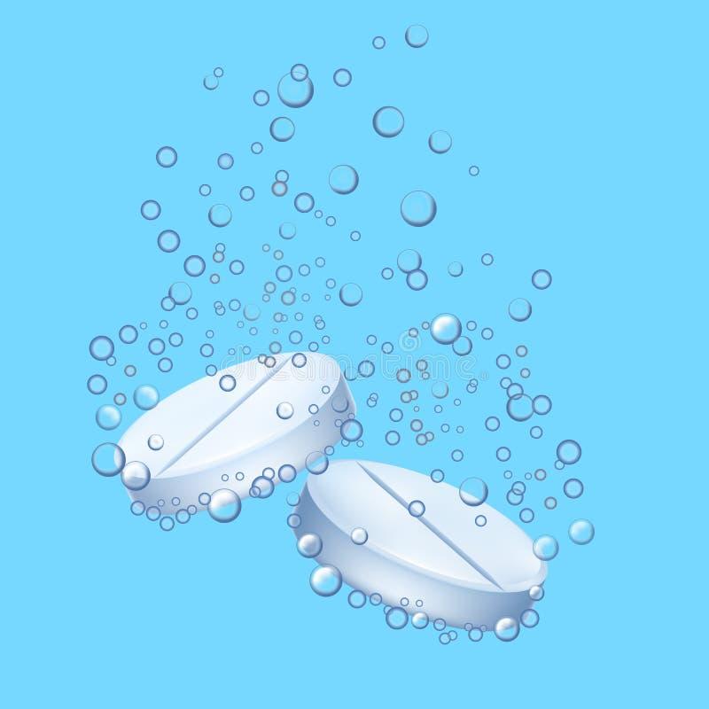 Pilule 3d détaillée réaliste avec des bulles sur un fond bleu Vecteur illustration libre de droits