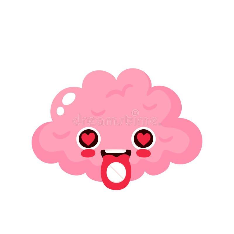 Pilule de l'extase MDMA sur la langue de cerveau illustration stock