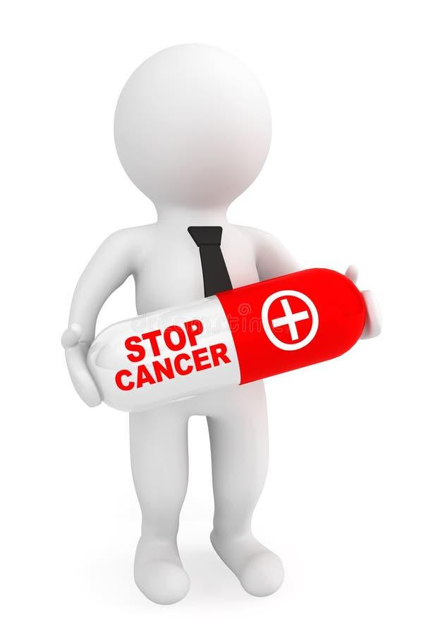 pilule de prise de la personne 3d avec le signe de Cancer d'arrêt illustration libre de droits