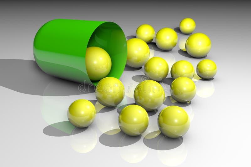 Pilule ouverte de capsule avec des granules Pharmacie de pharmacie Capsule antibiotique Capsule Probiotic Vitamine et minerai illustration libre de droits