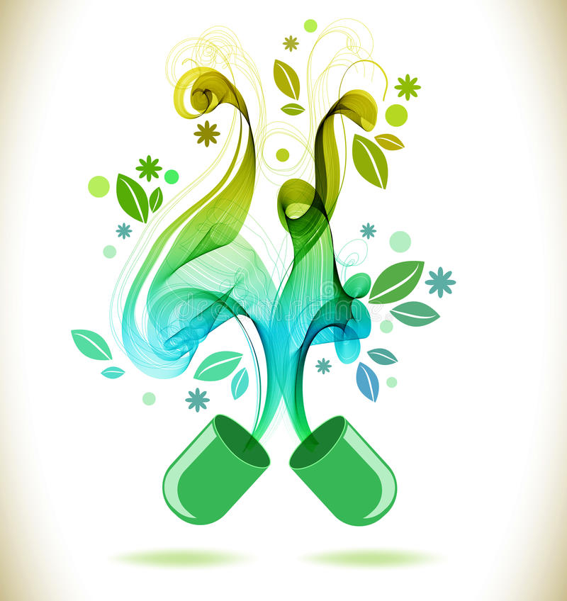 Pilule ouverte de couleur verte avec la vague abstraite illustration de vecteur