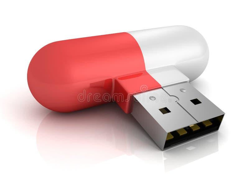 Pilule rouge d'entraînement d'instantané d'usb de concept sur le fond blanc illustration libre de droits