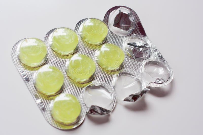 Pilules assaisonnées par calmant photos stock