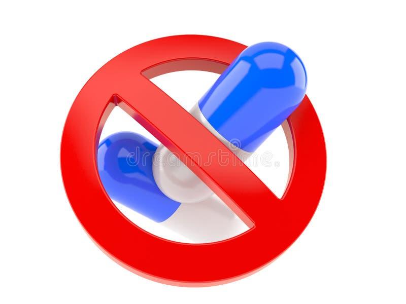 Pilules avec le signe interdit illustration de vecteur