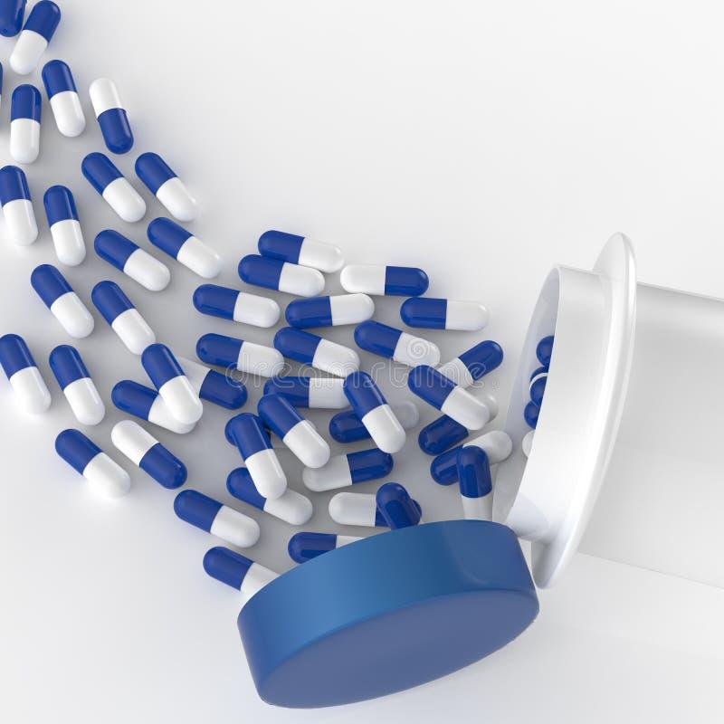 Pilules 3d se renversant hors de la bouteille de pilule illustration de vecteur