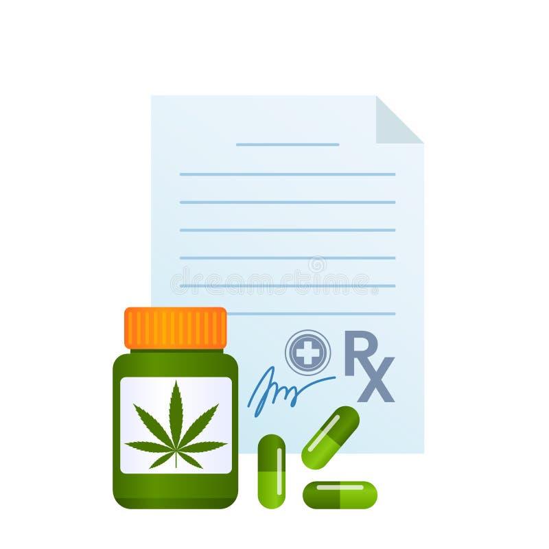 Pilules de cannabis de médicament délivré sur ordonnance de marijuana et emballage médicaux de drogue Lame de cannabis concept de illustration stock
