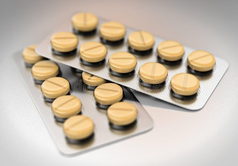pilules de jaune de la boursouflure 3D photographie stock