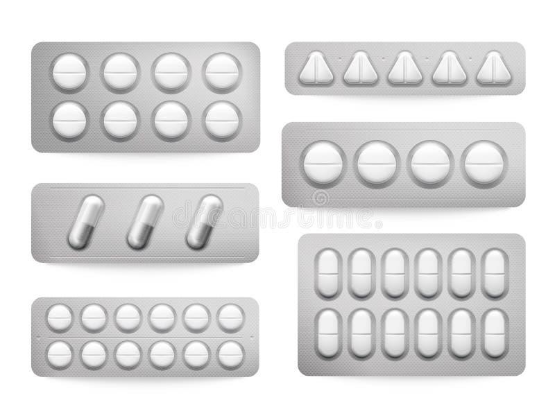 Pilules de paracétamol de habillages transparents, capsules d'aspirin, antibiotiques ou drogues blancs de calmant Emballage de mé illustration stock