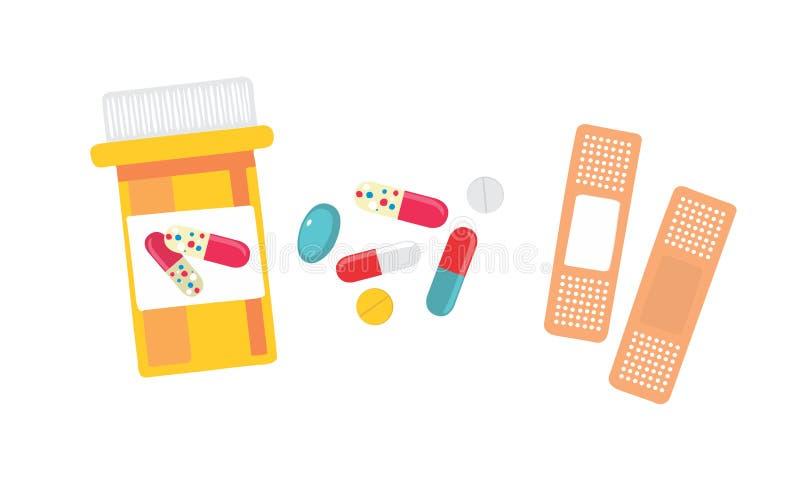 Pilules et bandage images libres de droits