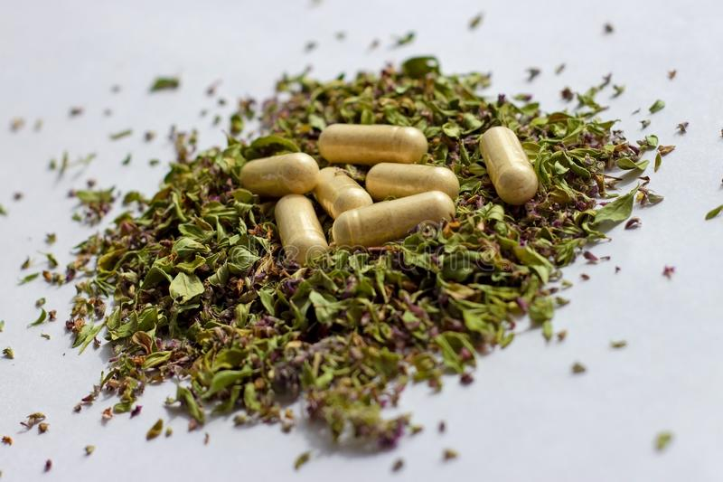 Pilules et capsules nutritionnelles de suppléments sur le fond sec d'herbes Phytothérapie, naturopathy alternatifs et homéopathie photographie stock libre de droits