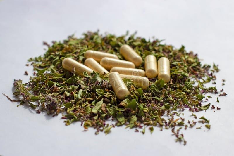 Pilules et capsules nutritionnelles de suppl?ments sur le fond sec d'herbes Phytoth?rapie, naturopathy alternatifs et hom?opathie images libres de droits