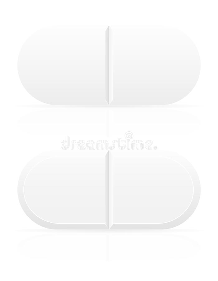 Pilules médicales blanches pour l'illustration de vecteur de traitement illustration stock