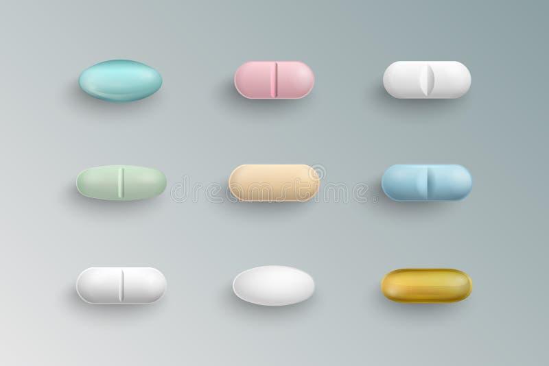 Pilules médicales colorées réalistes, comprimés, capsules illustration stock