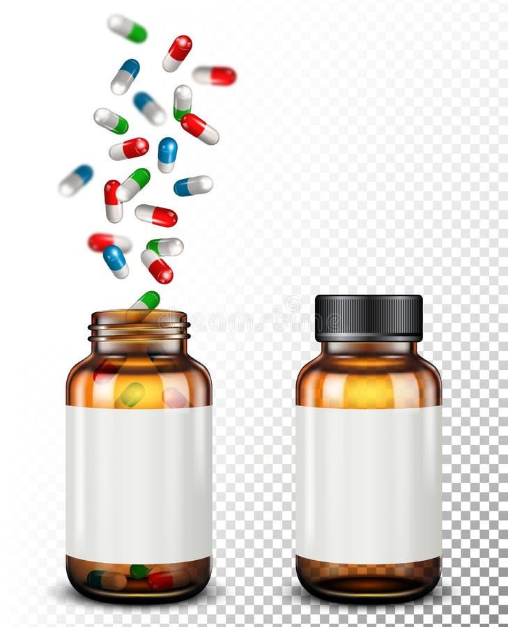 Pilules médicales tombant dans le pot en verre sur transparent illustration libre de droits
