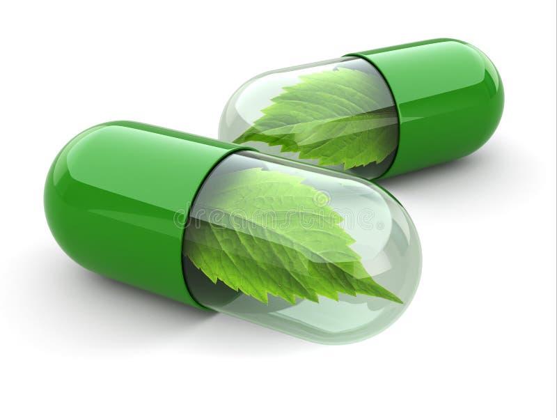 Pilules naturelles de vitamine. Médecine parallèle. illustration de vecteur