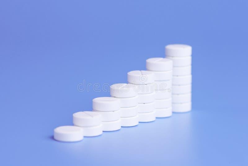 Pilules ou comprimés blancs empilés sur l'un l'autre sous forme d'étapes sur le fond pourpre photographie stock
