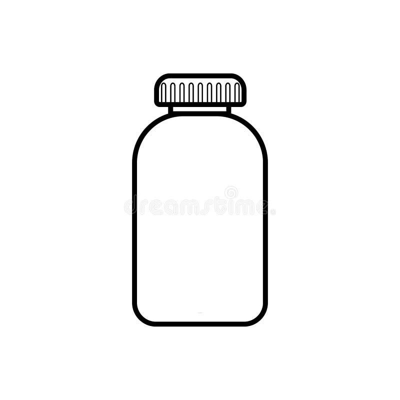 Pilules pharmaceutiques médicales de pilules dans un paquet, un pot avec un couvercle pour le traitement des maladies, une icône  illustration stock