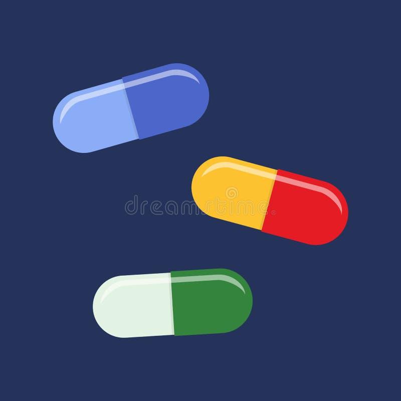 Pilules plates d'icône illustration de vecteur
