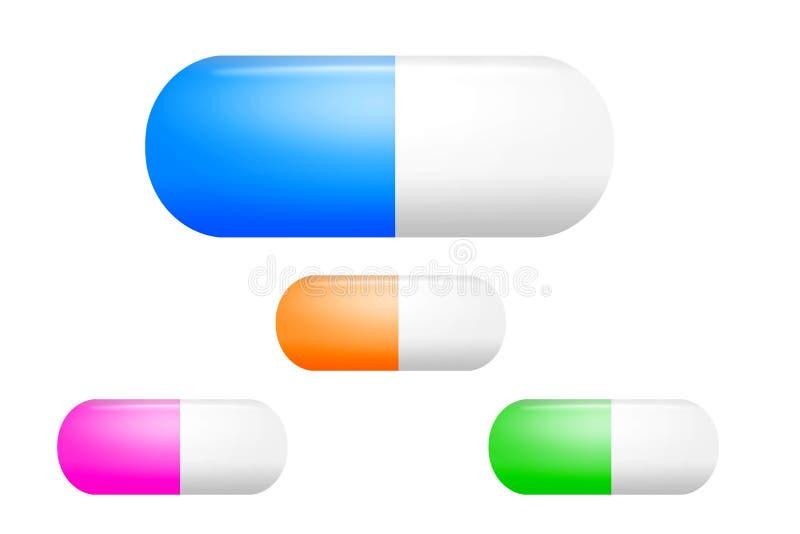 Pilules réalistes sur le fond blanc. illustration stock