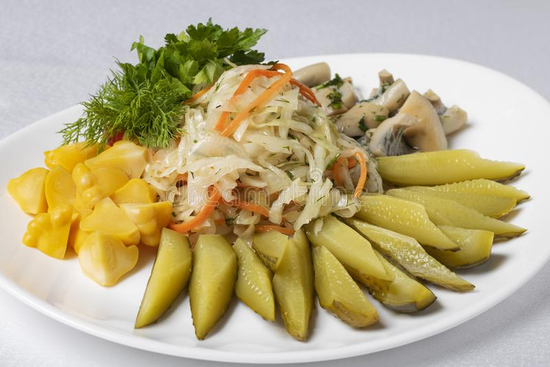 Pilz, in Essig eingelegte Gurken, Kartoffel und Eier mit Oliven und Zitrone, kalte Mahlzeit lizenzfreies stockbild